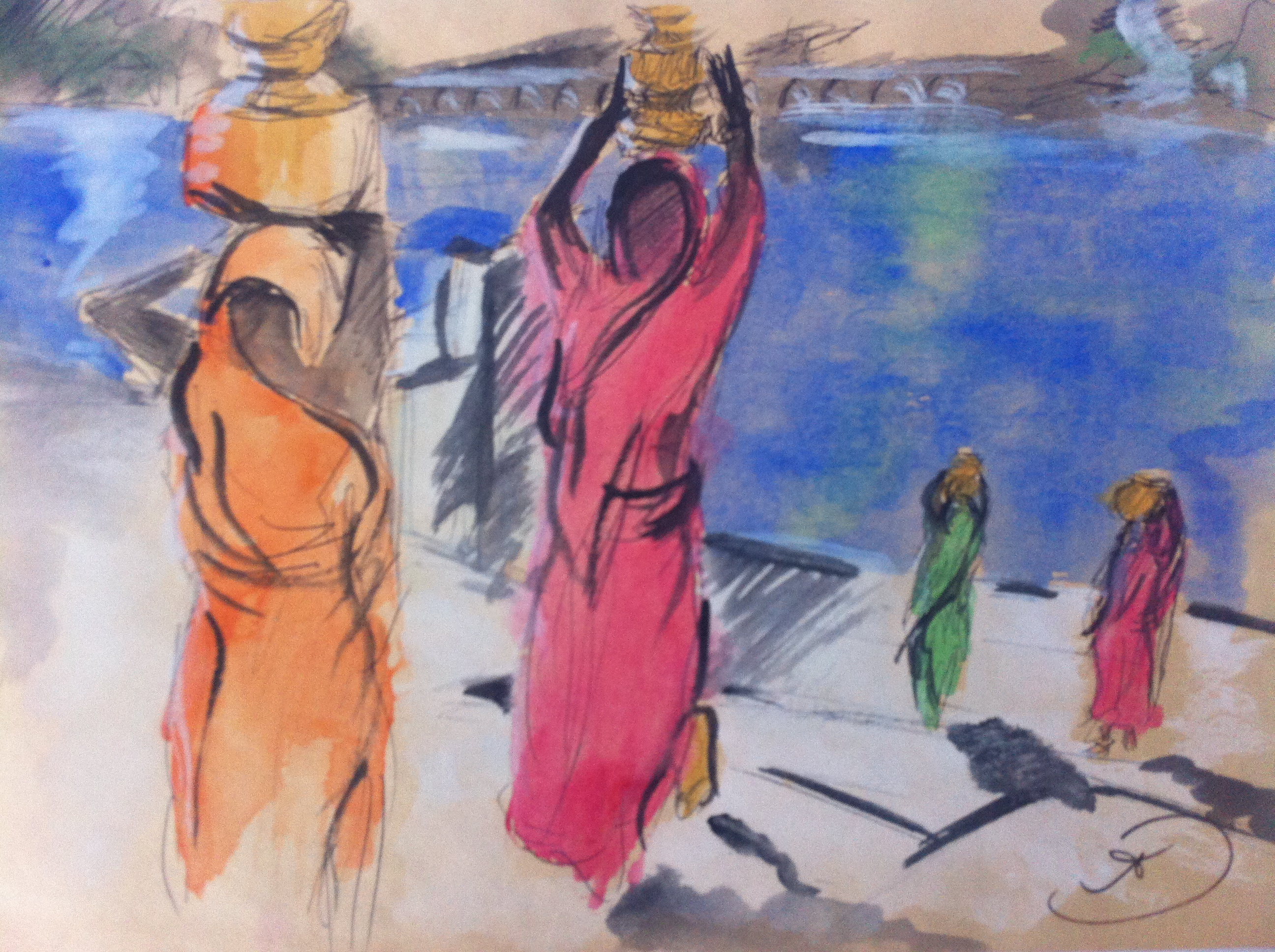 Painting of Women carrying water from Puskhar Lake in the early morning sun in Pushkar, Rajasthan, India, by Ali Dunnell