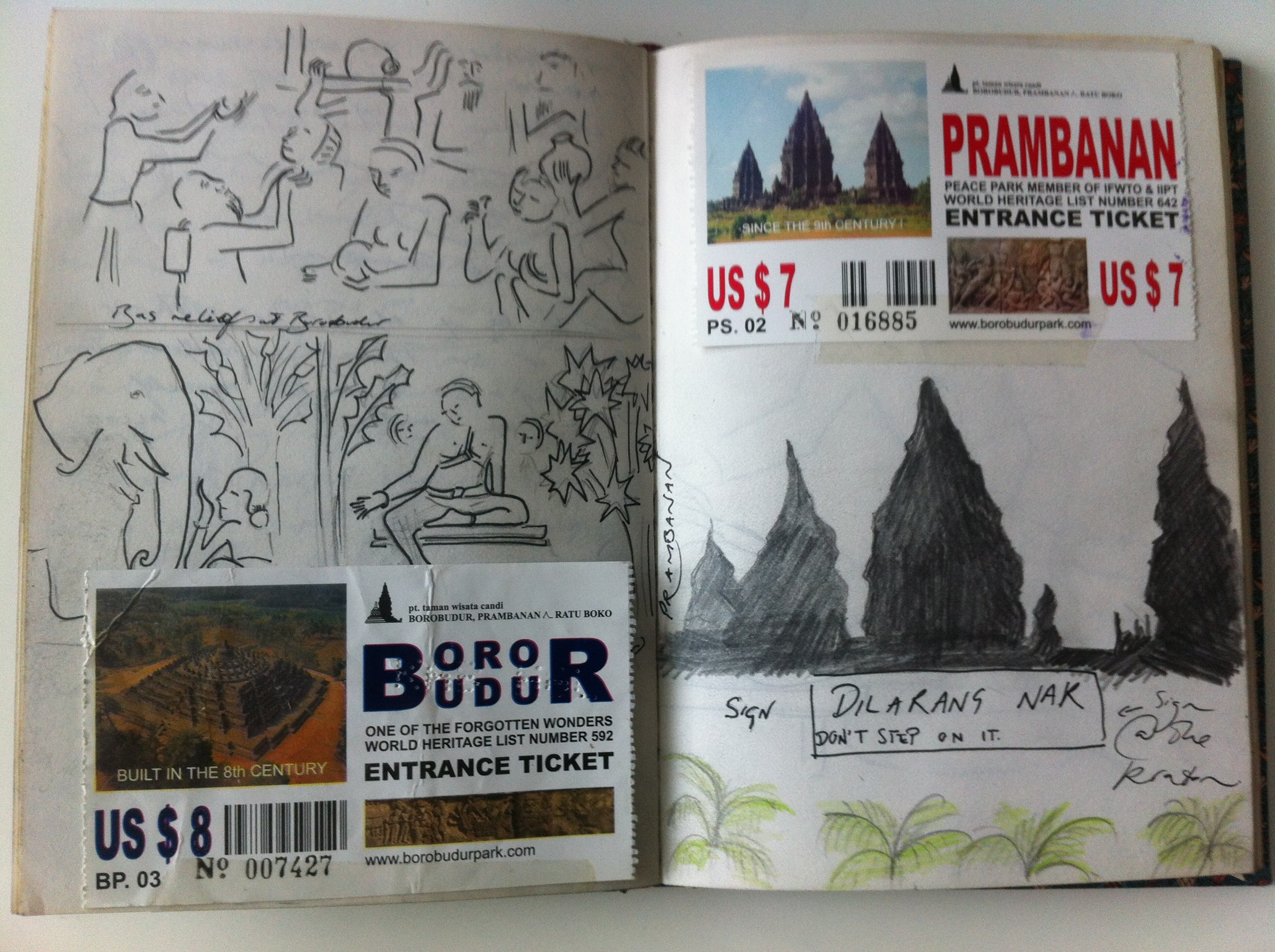 Sketches from Prambanan from my Java sketchbook