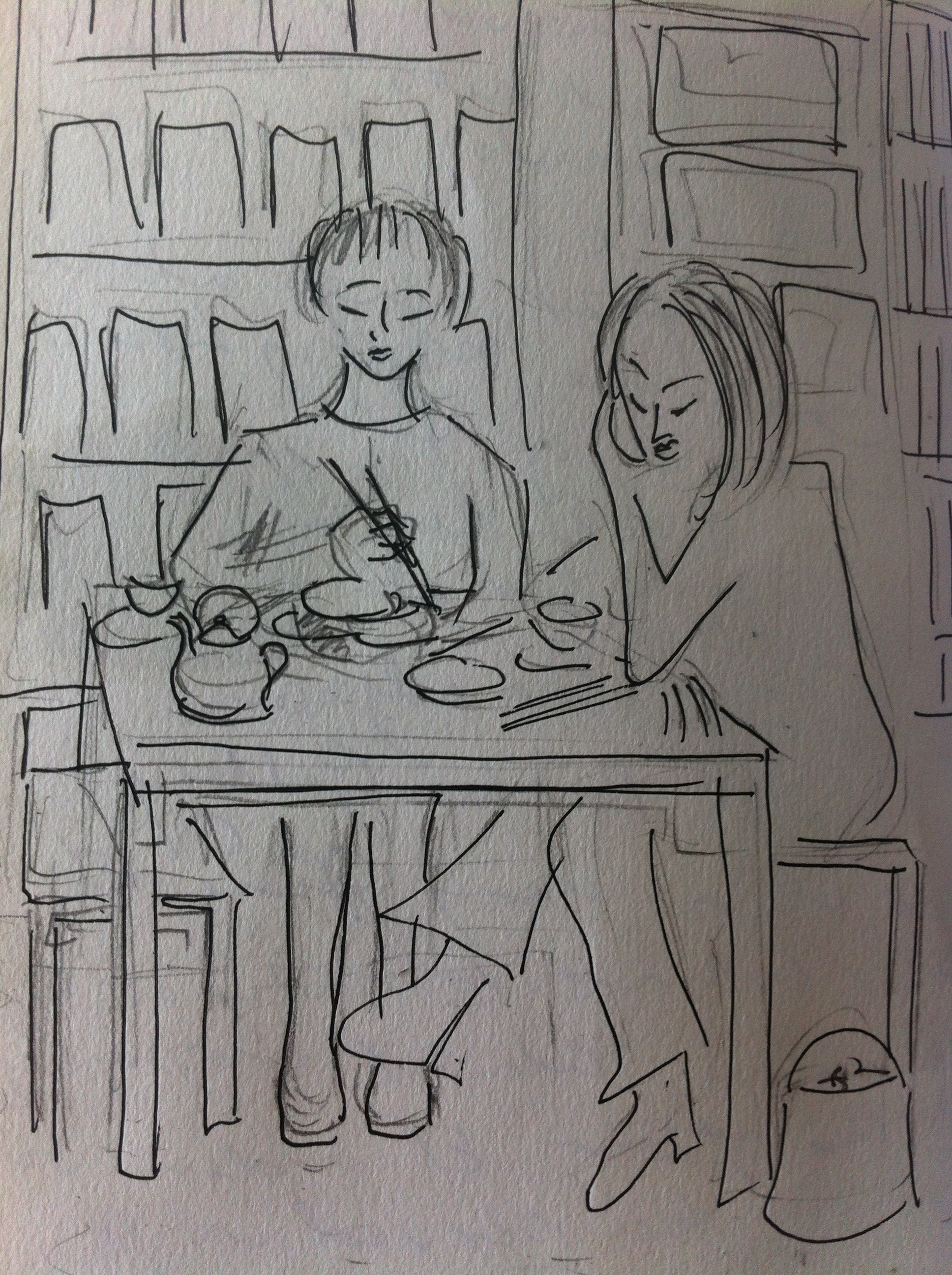 Tea and dim sum at the Lock Cha tea house from my Hong Kong Sketchbook.