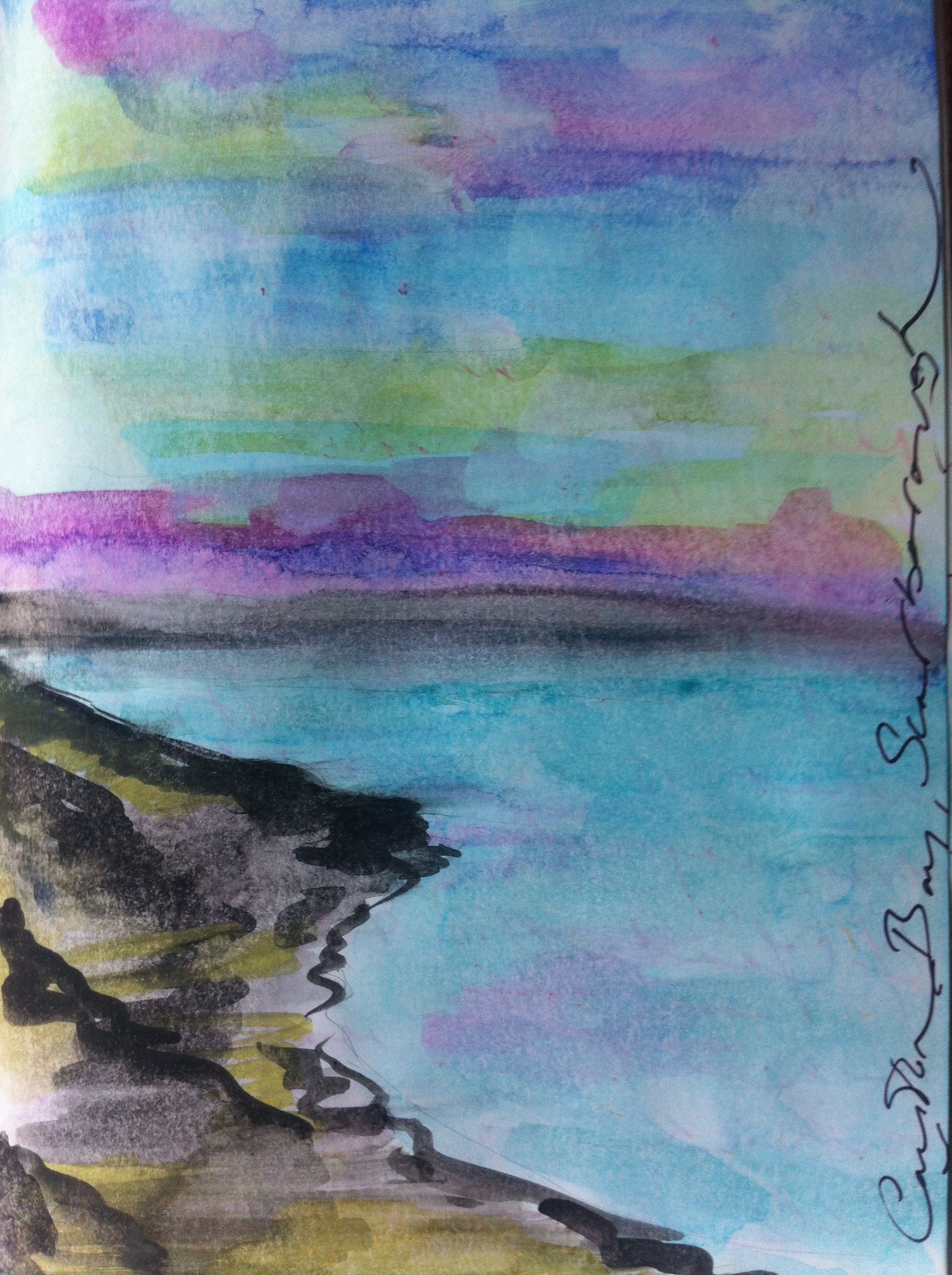 Watercolour sketch of Cayton Bay in Scarborough from my England Sketchbook