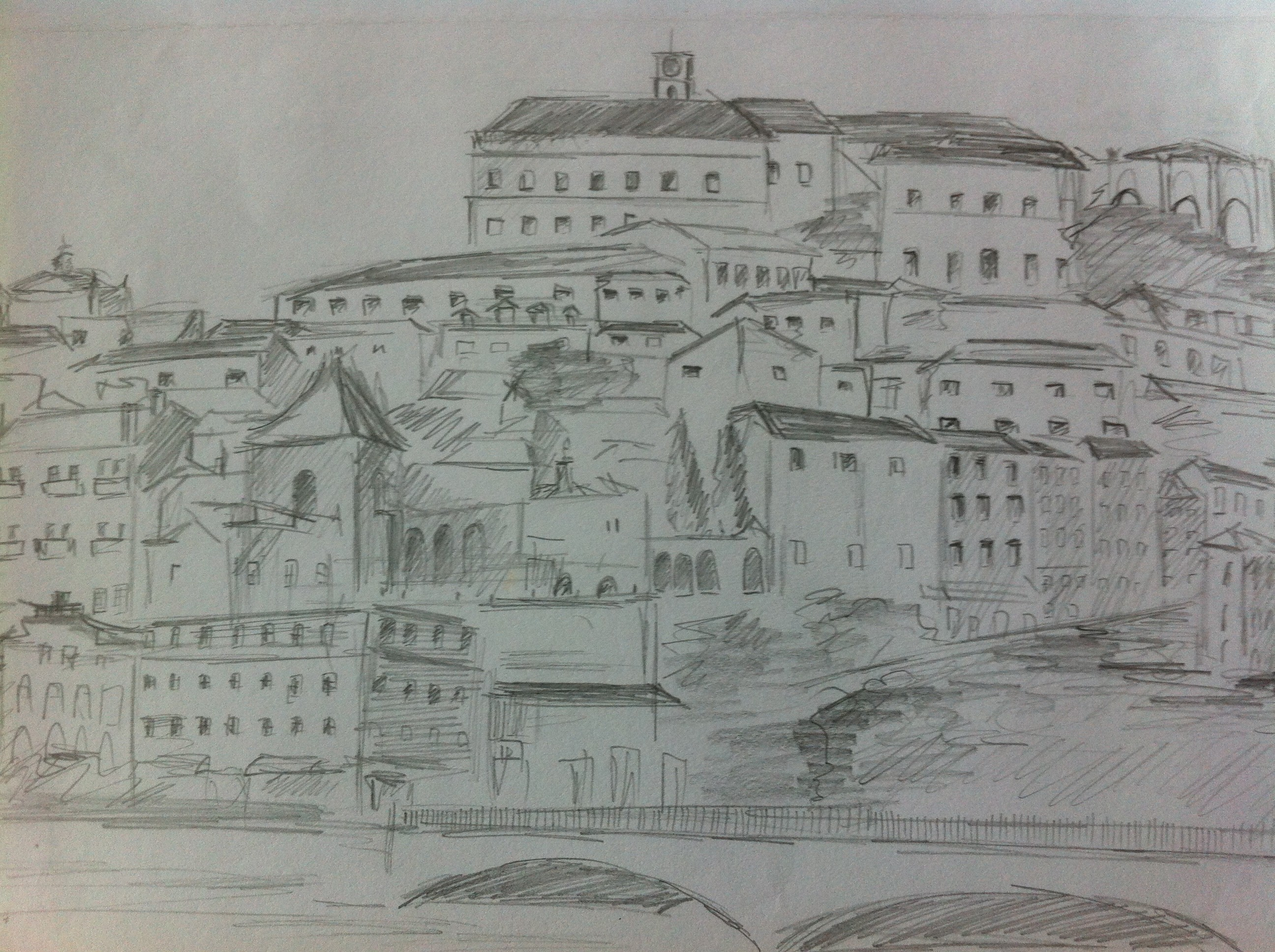 Coimbra cityscape from across the Mondego river from my Portugal Sketchbook