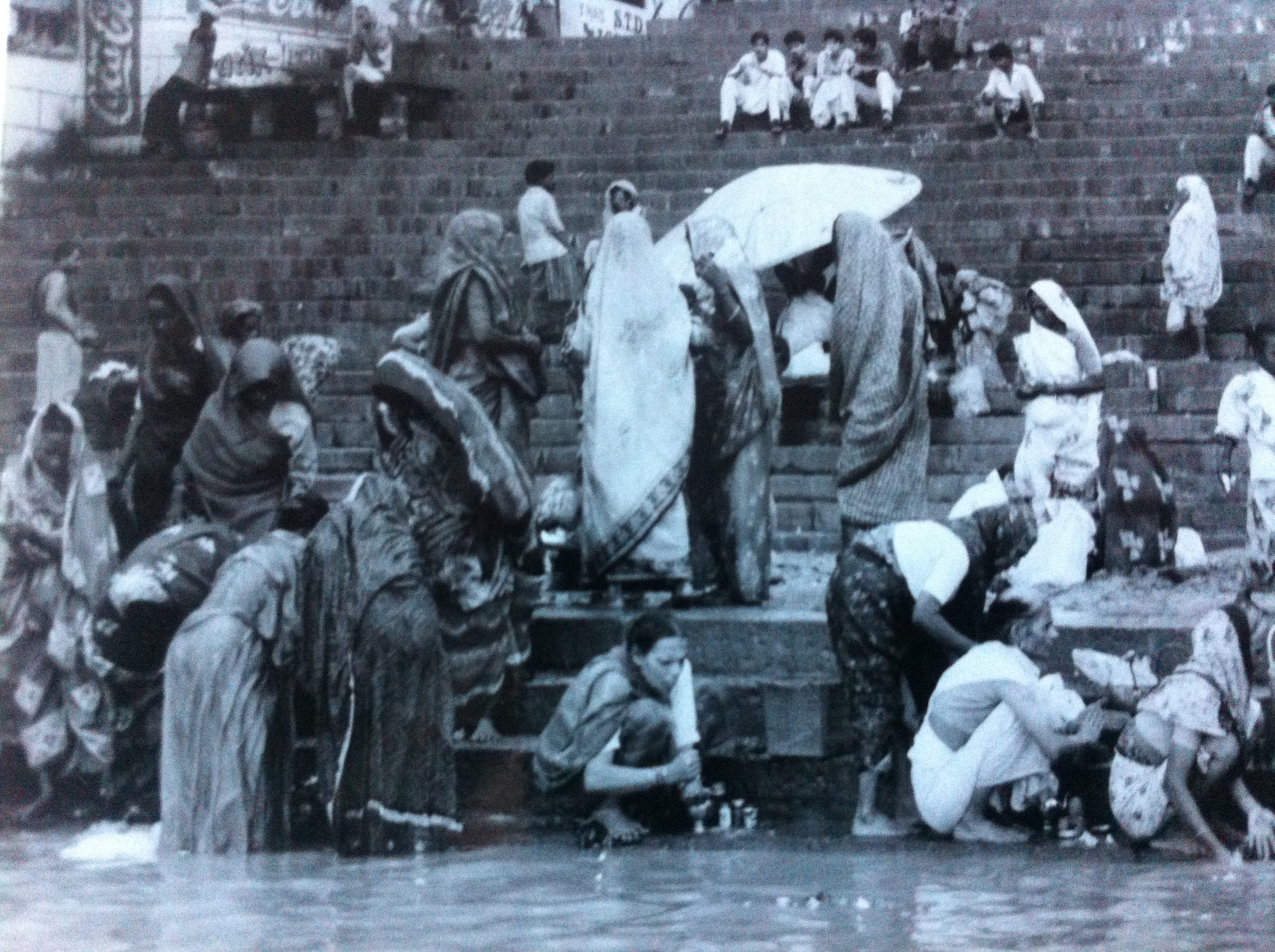 Women Washing on the Ghats in Banaras (Varanasi), India