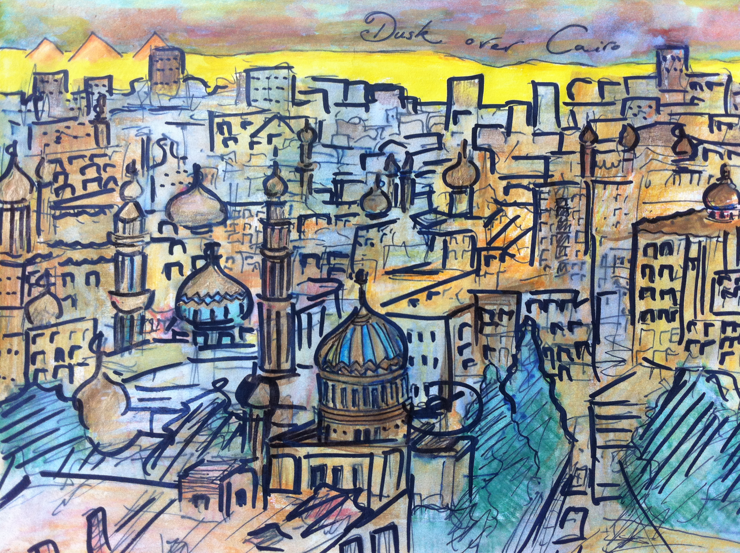 Cityscape from the citadel in Cairo, Egypt.