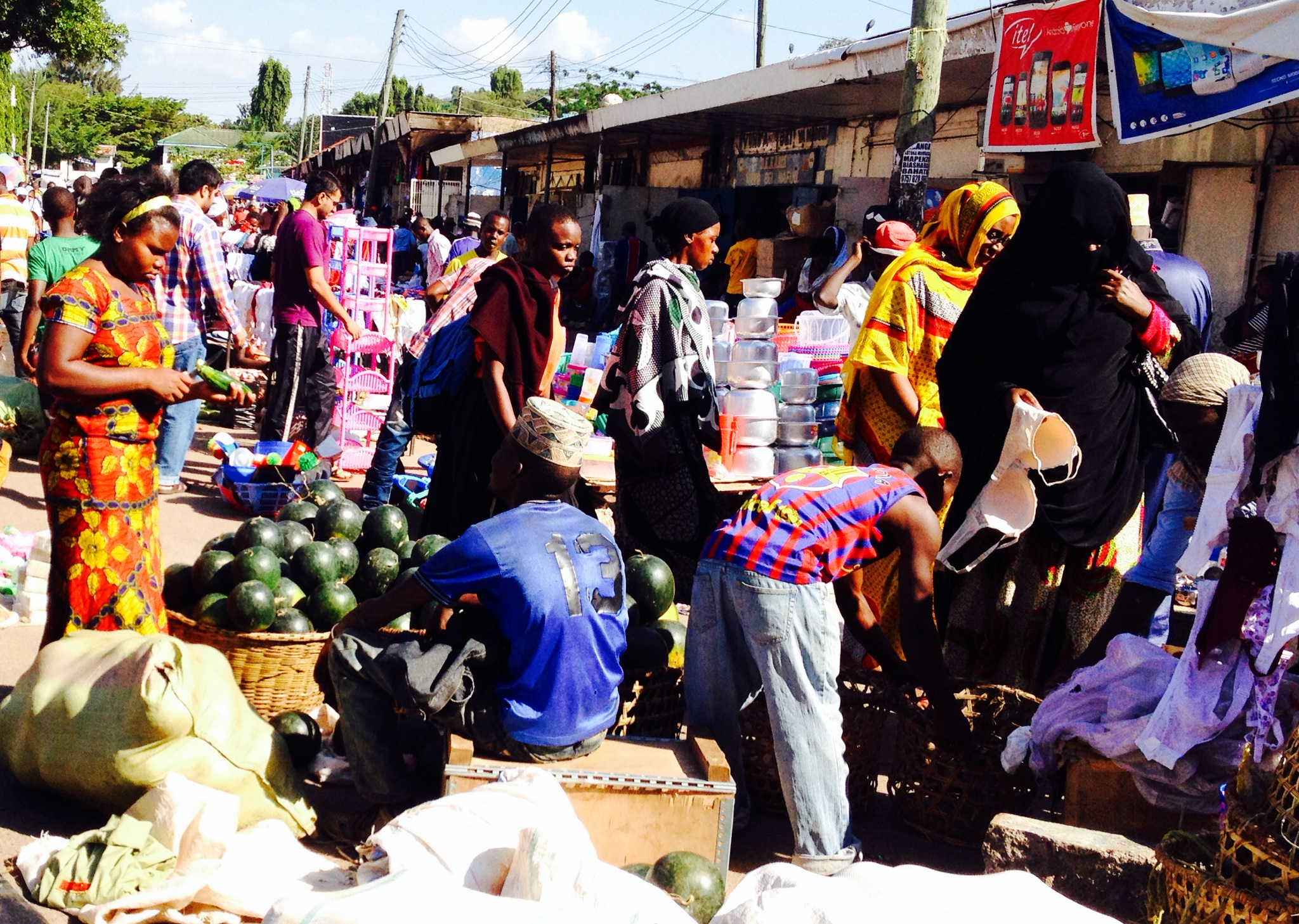 Christmas Shopping on Market Street in Mwanza, Tanzania.
