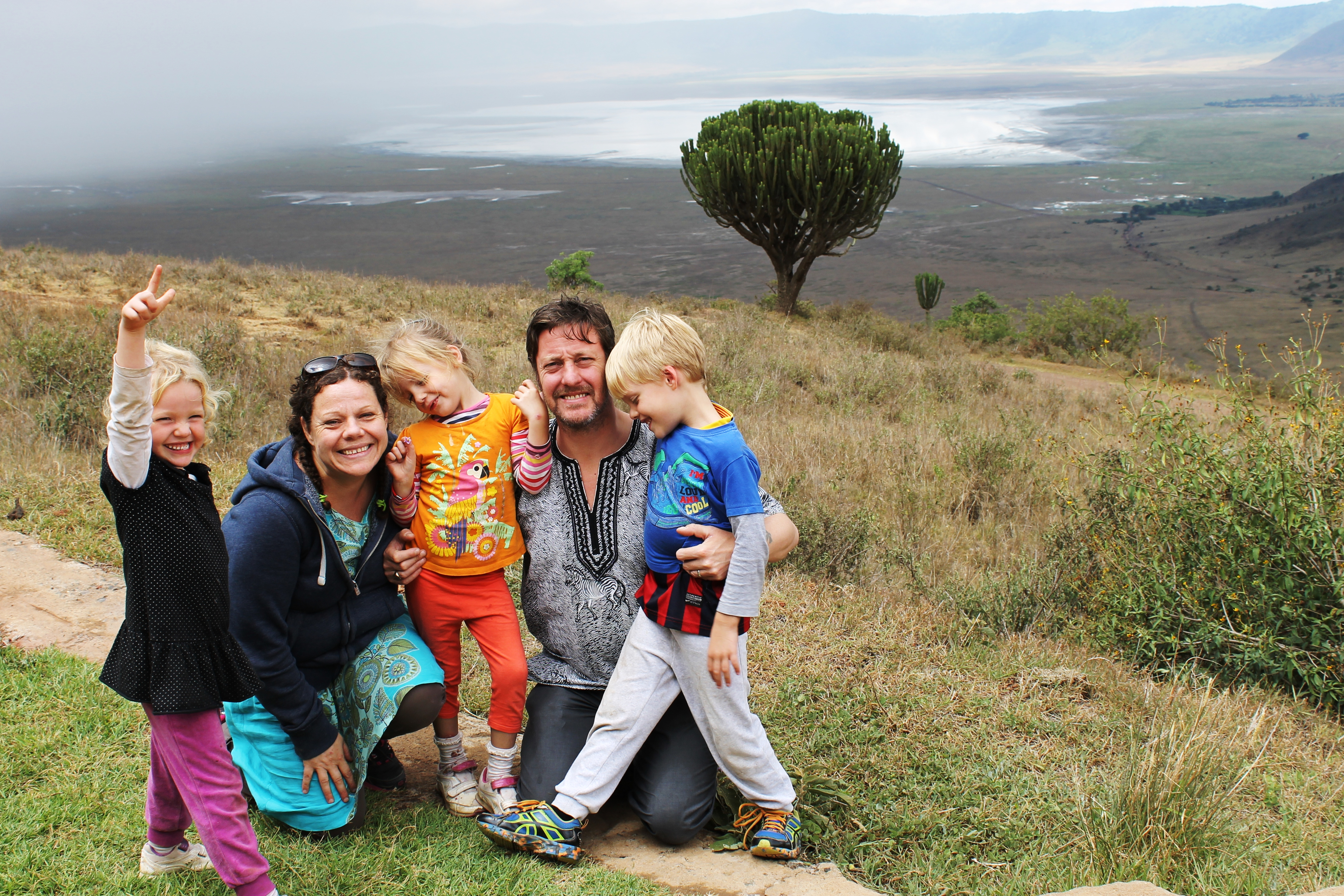 Frida, Ali, Lottie, Mark and Leon on the edge of the Ngorogoro Crater.