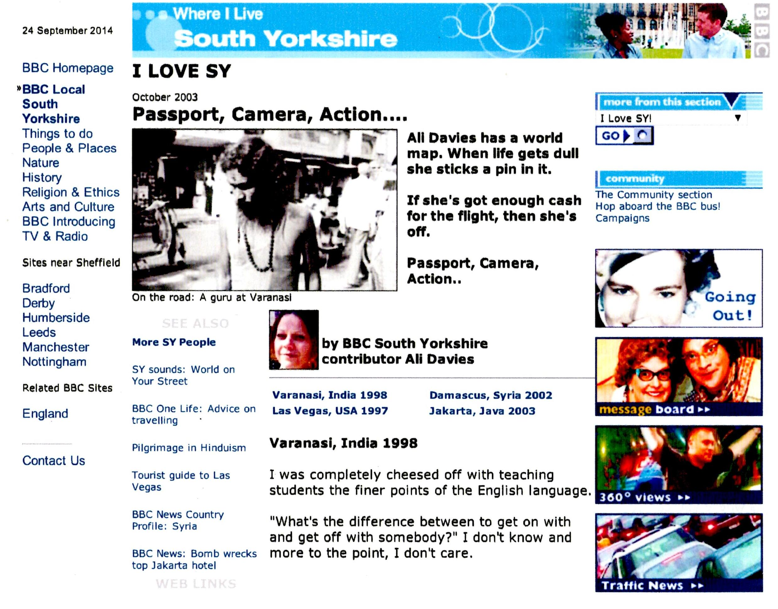 Passport Camera Action page from BBC South Yorkshire website