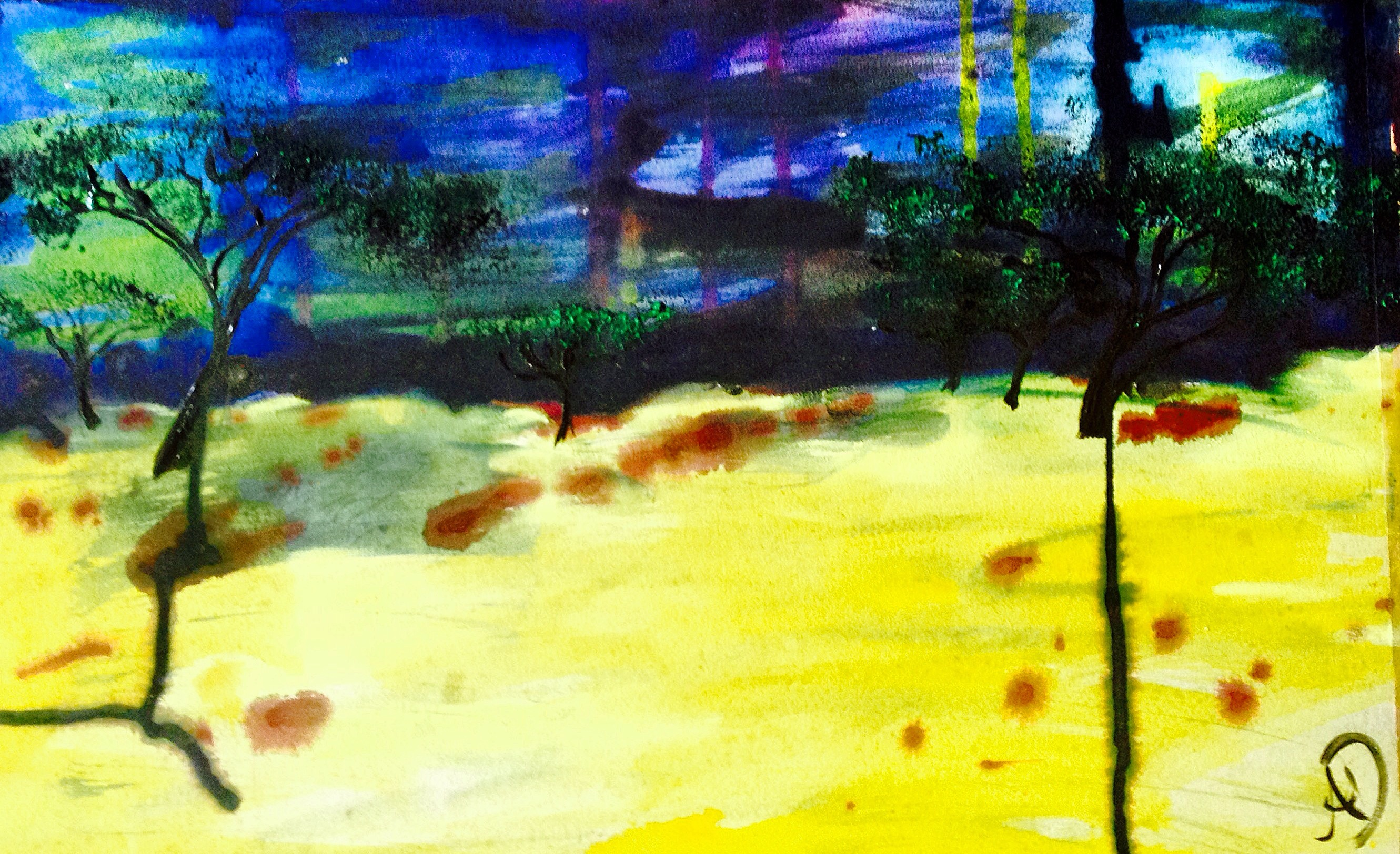Endless Abstract Land - acrylic and ink painting by Ali Dunnell