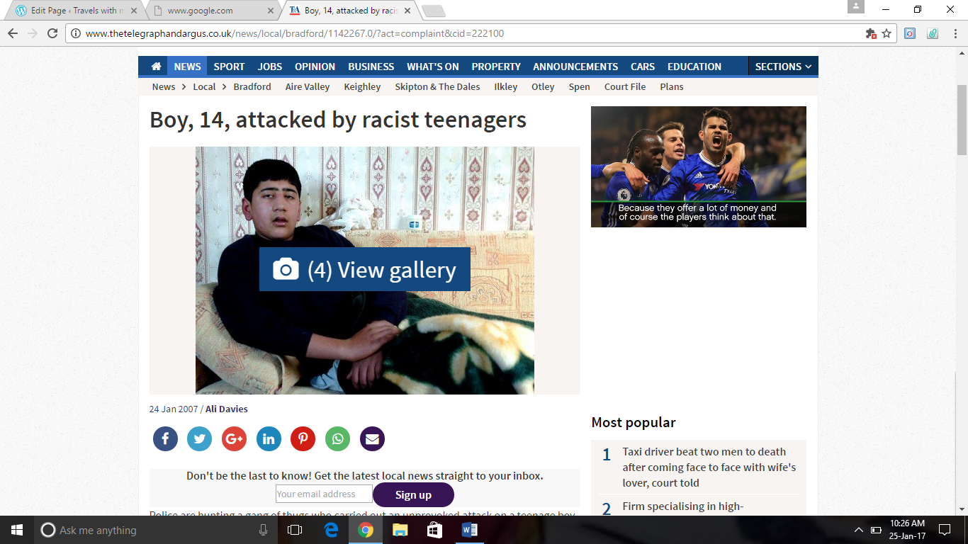 Article about a racial attack written for Telegraph and Argus Newspaper