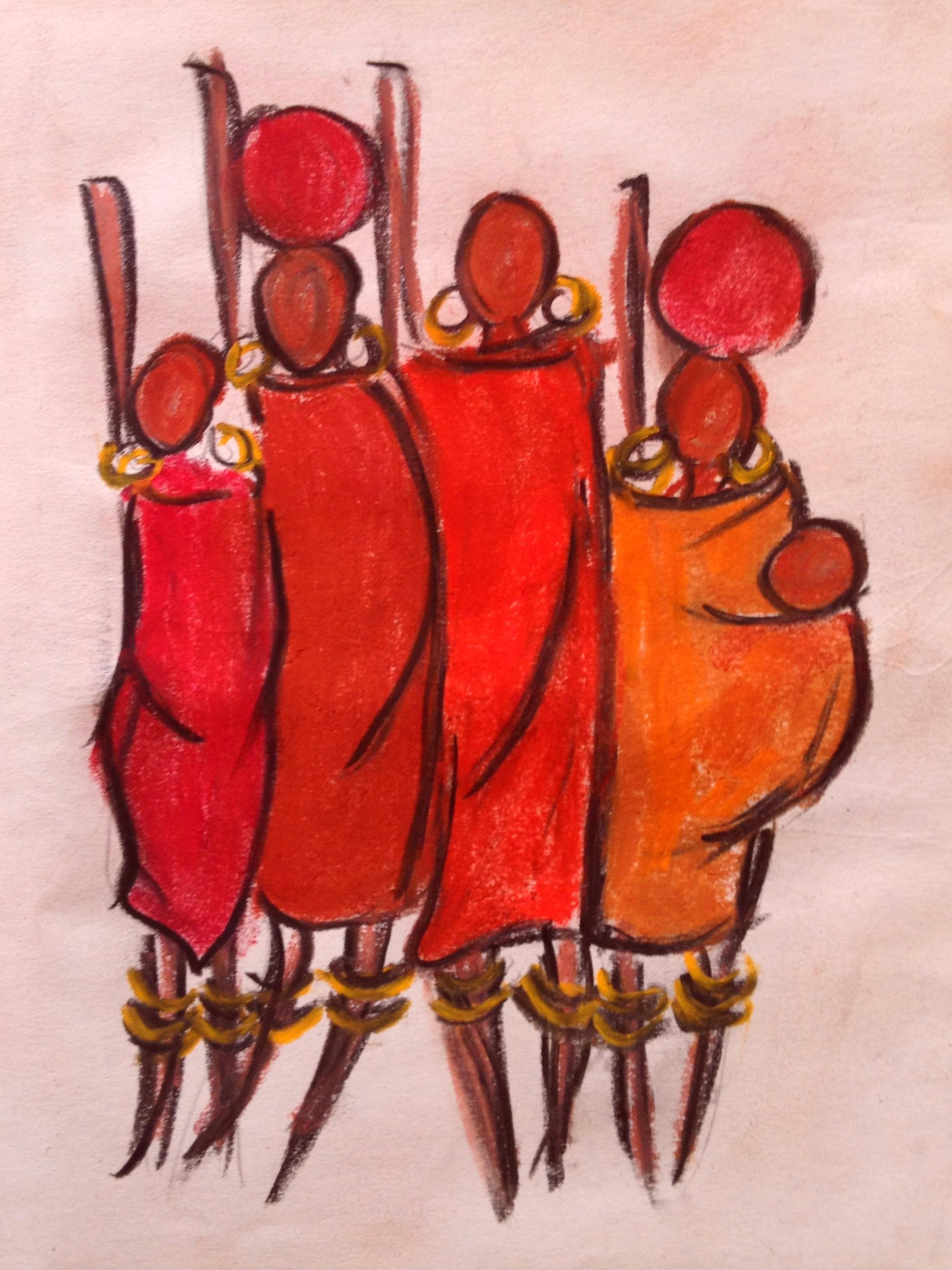 Masai in Red and Orange