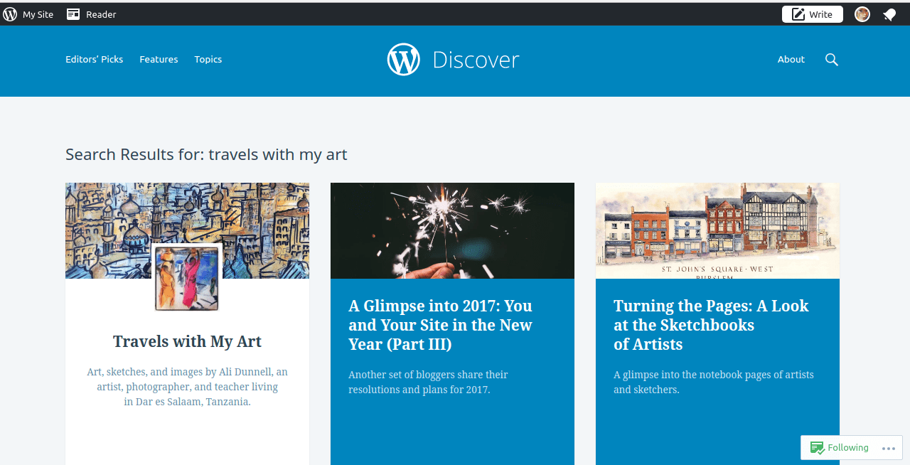 Travels with my Art featured on Editors's Picks for WordPress Discover