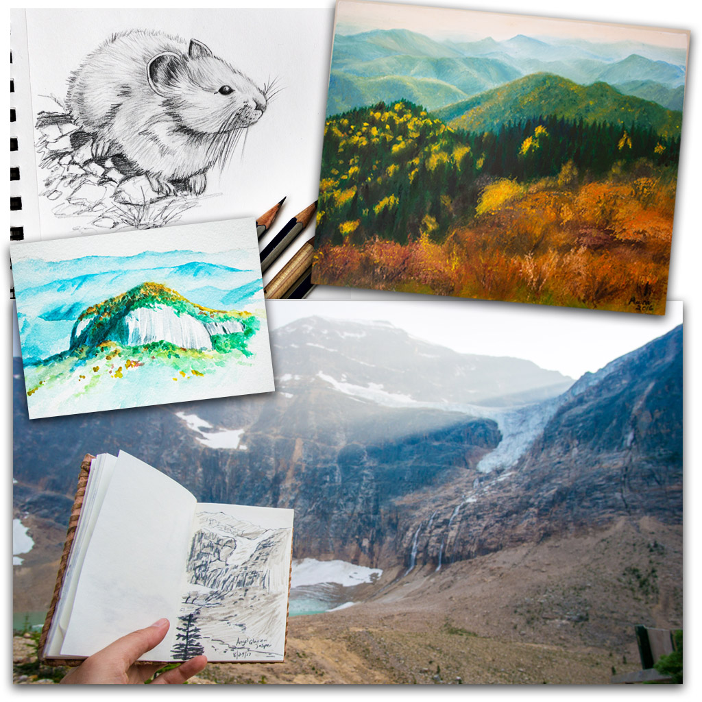 Various travel sketches and paintings by Maura Elko